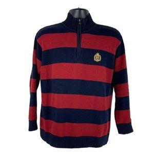 Ralph Lauren Striped Quarter Zip Sweater Golden
